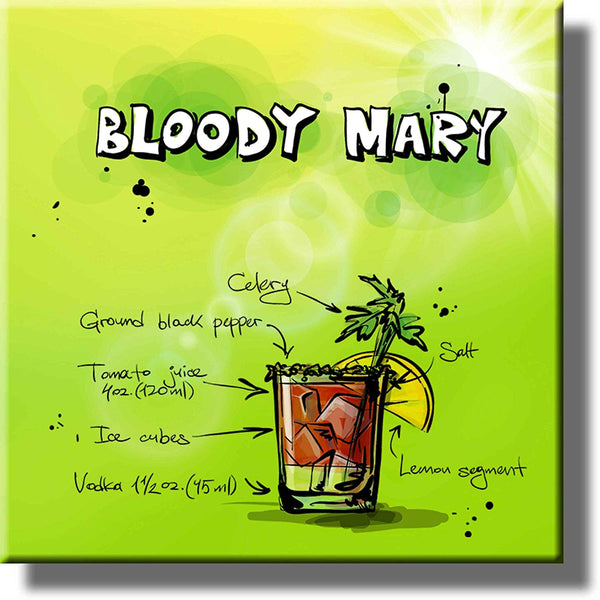 Bloody Mary Drink Picture on Stretched Canvas, Wall Art Decor, Ready to Hang!