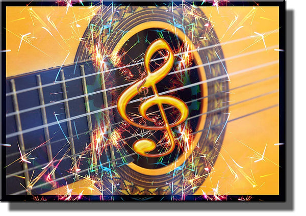 Guitar, Music Note, and Sparklers Picture on Stretched Canvas, Wall Art Decor Ready to Hang!.