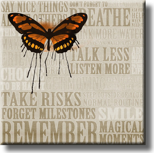 Butterfly Motivational Quotes Picture on Stretched Canvas, Wall Art Décor, Ready to Hang