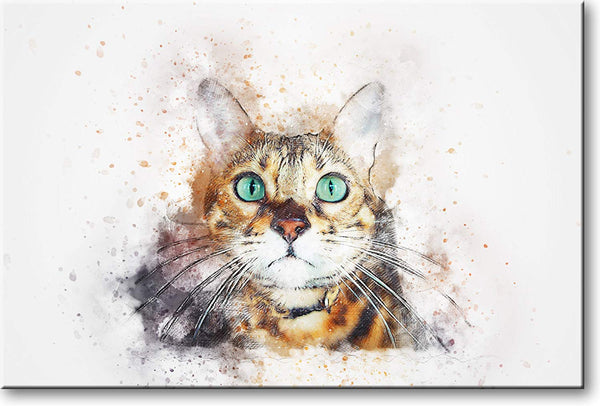 Cat with Green Eyes Picture on Stretched Canvas, Wall Art Décor, Ready to Hang