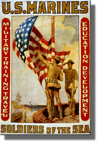 US Marines Soldiers of the Sea Picture Made on Stretched Canvas Wall Art Decor Ready to Hang!.