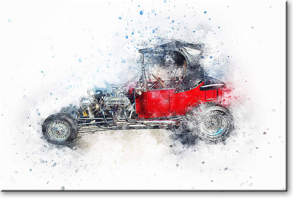 Antique Classic Red Car Picture on Stretched Canvas, Wall Art Décor, Ready to Hang