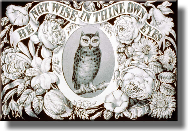Be Wise Owl Insirational Picture Made on Stretched Canvas Wall Art Decor Ready to Hang!.