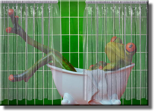 Frog in Bathtub Bathroom Picture on Stretched Canvas, Wall Art Décor, Ready to Hang