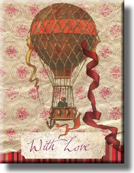 Vintage With Love Postcard Picture on Stretched Canvas, Wall Art Decor, Ready to Hang