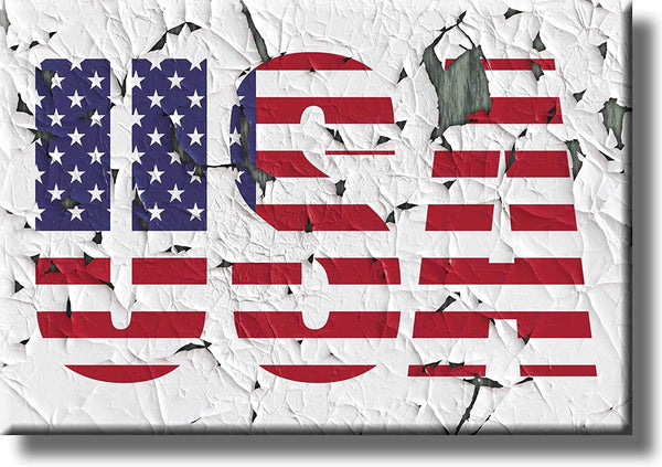USA Crumbled Vintage Sign Picture on Stretched Canvas, Wall Art Décor, Ready to Hang!