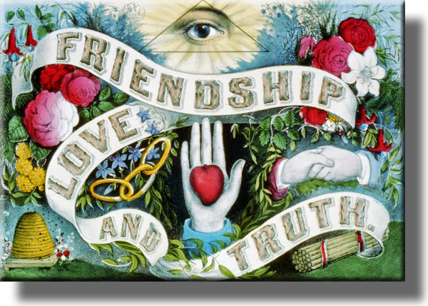 Friendship, Love, and Truth Picture on Stretched Canvas Wall Art Décor Framed Ready to Hang!