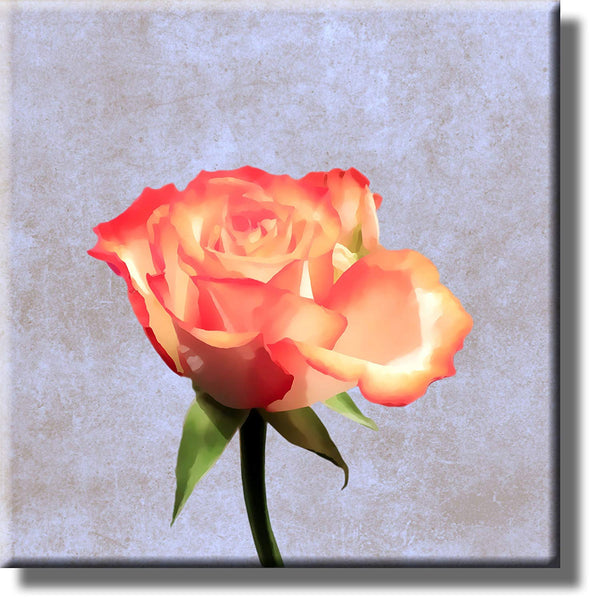 Rose Painting Picture on Stretched Canvas, Wall Art Decor, Ready to Hang