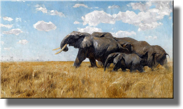 Migrating Elephants Picture by Kuhnertde on Stretched Canvas, Wall Art Decor, Ready to Hang!