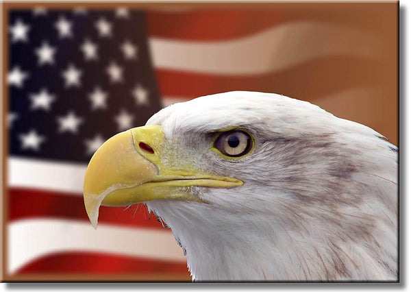 Eagle and American Flag in the Background Picture on Stretched Canvas, Wall Art Décor, Ready to Hang