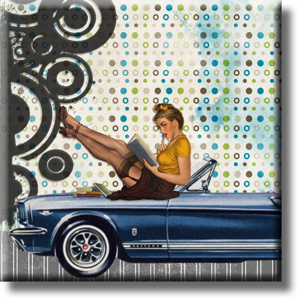 Pinup Girl Sitting on a Car Vintage Picture on Stretched Canvas, Wall Art Décor Ready to Hang
