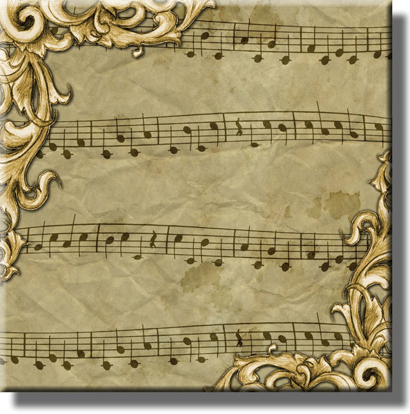 Vintage Music Sheet Notes Picture on Stretched Canvas, Wall Art Décor, Ready to Hang