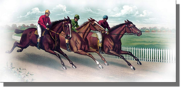 Horse Race Derby Picture on Stretched Canvas, Wall Art Decor Ready to Hang!.