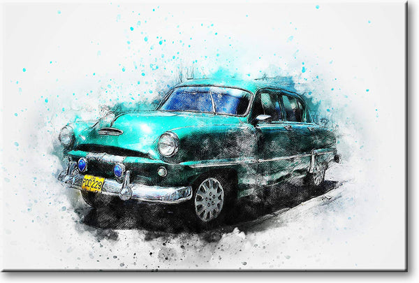 Classic Antique Blue Car Picture on Stretched Canvas, Wall Art Decor, Ready to Hang