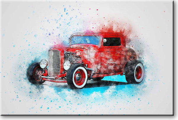 Hot Rod Classic Car Picture on Stretched Canvas, Wall Art Decor, Ready to Hang
