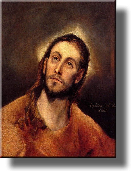 Head of Jesus Christ by El Greco on Stretched Canvas, Wall Art Picture, Ready to Hang!