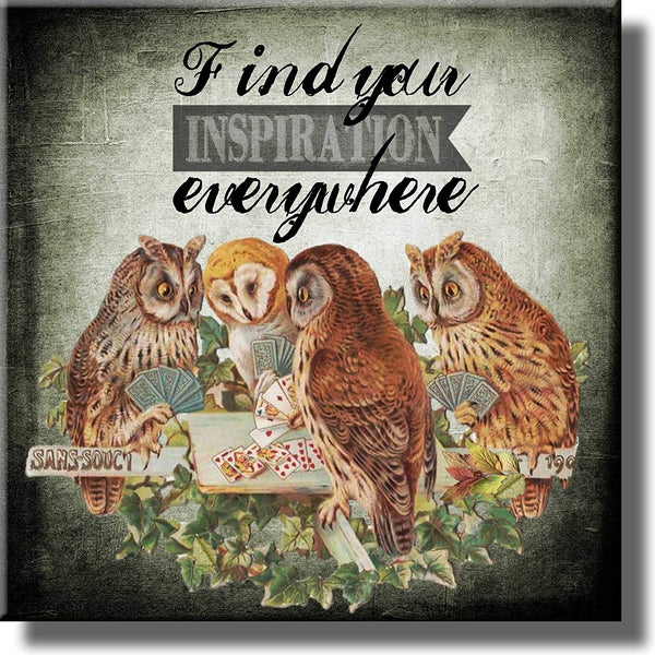 Find Your Inspiration Everywhere Owls Picture on Stretched Canvas, Wall Art Decor, Ready to Hang