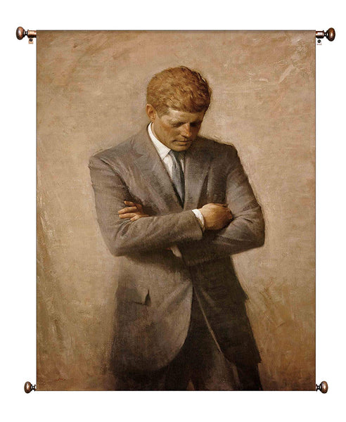John F Kennedy JFK Portrait on Canvas Framed with Hanger Included, Ready to Hang, Wall Art Décor