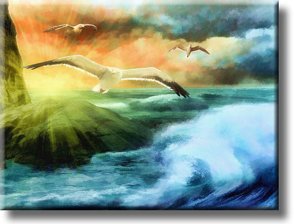 Seagulls Flying over Ocean Picture on Stretched Canvas, Wall Art Decor, Ready to Hang