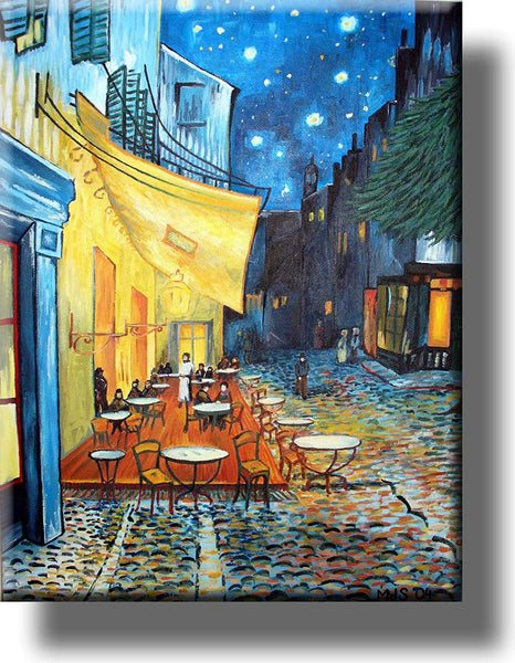 Café Terrace at Night by Vincent van Gogh Picture on Stretched Canvas, Wall Art Décor, Ready to Hang!