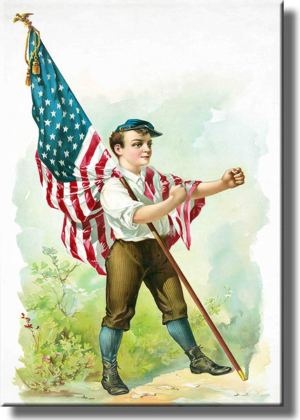Boy Marching with American Flag Picture on Stretched Canvas, Wall Art Decor, Ready to Hang!