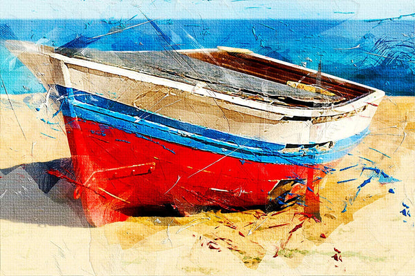 Boat on a Beach Painting Picture on Stretched Canvas, Wall Art Decor, Ready to Hang