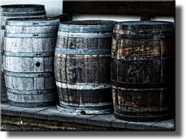 Wooden Barrels Picture on Stretched Canvas, Wall Art Decor Ready to Hang!.