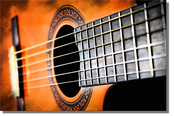Guitar Closeup Picture on Stretched Canvas, Wall Art Decor Ready to Hang!.