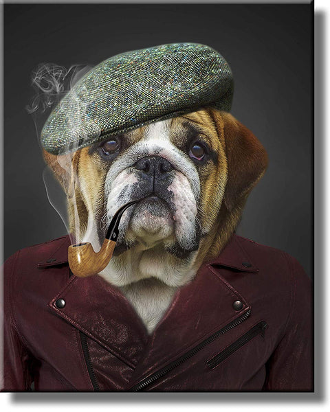 Dog Smoking Picture on Stretched Canvas, Wall Art Décor, Ready to Hang