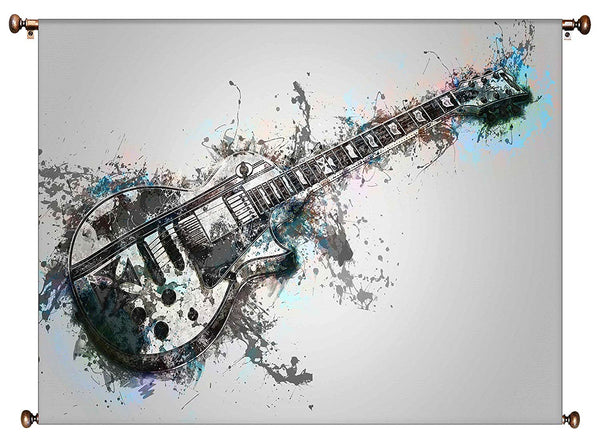 Electric Guitar Vintage Picture on Large Canvas Hung on Copper Rod, Ready to Hang, Wall Art Décor