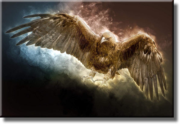 Golden Eagle Flying Picture on Stretched Canvas, Wall Art Décor, Ready to Hang
