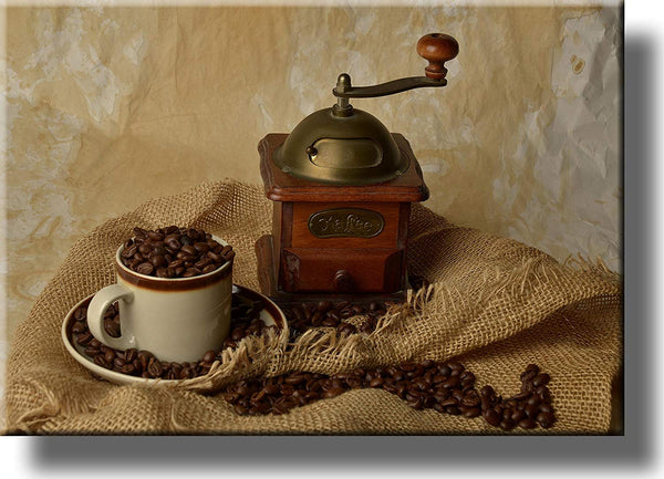 Coffee Grinder Kitchen Picture on Stretched Canvas, Wall Art Decor, Ready to Hang!
