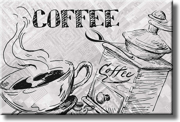 Coffee Drawing, Kitchen Picture on Stretched Canvas, Wall Art Decor, Ready to Hang