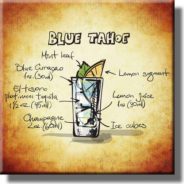 Blue Tahoe Cocktail Recipe Picture on Stretched Canvas, Wall Art Decor, Ready to Hang!