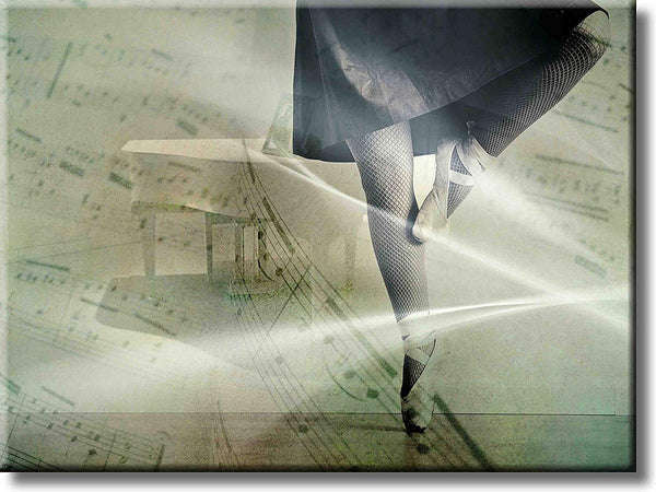 Ballerina Music Notes Picture on Stretched Canvas, Wall Art Décor, Ready to Hang