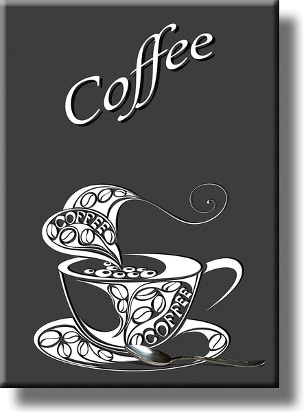 Cup of Coffee and Spoon Picture on Stretched Canvas, Wall Art Décor, Ready to Hang