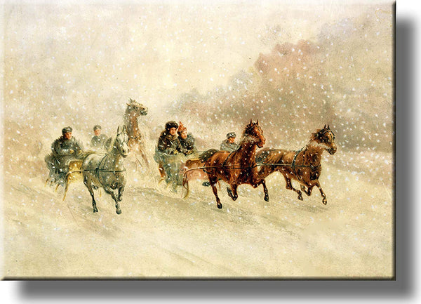 Horses Pulling Sleigh through Snow Picture on Stretched Canvas, Wall Art Décor, Ready to Hang!