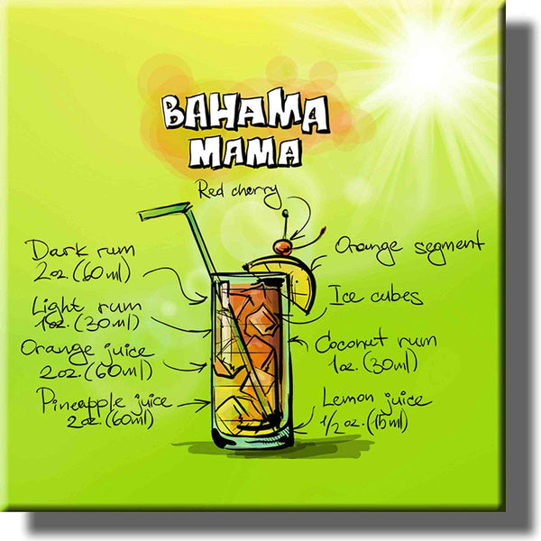Bahama Mama Drink Sun Recipe Picture on Stretched Canvas, Wall Art Decor, Ready to Hang!