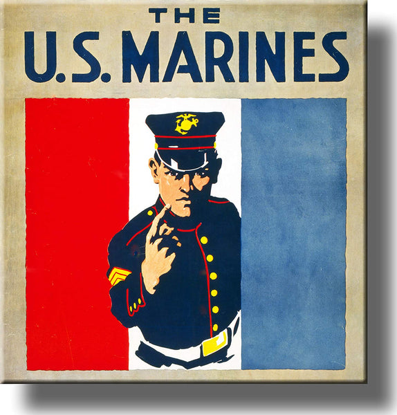 The US Marines Vintage Picture Made on Stretched Canvas Wall Art Decor Ready to Hang!.