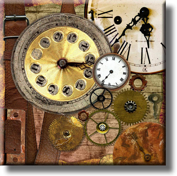 Vintage Clocks Picture on Stretched Canvas, Wall Art Decor, Ready to Hang