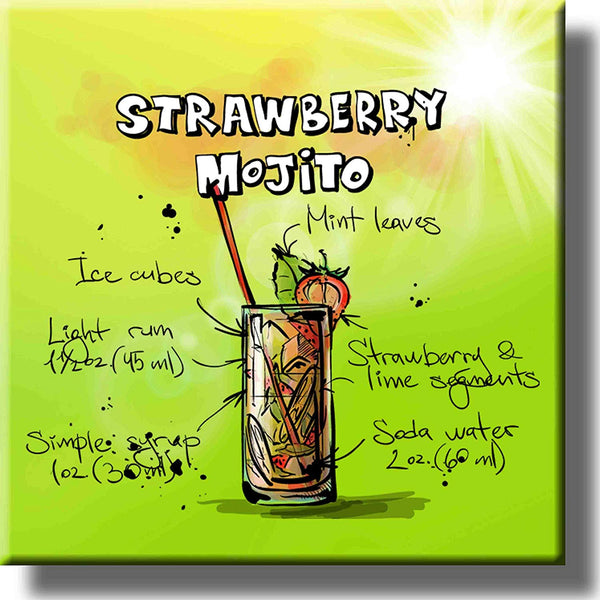 Strawberry Mojito Cocktail Recipe Picture on Stretched Canvas, Wall Art Decor, Ready to Hang!