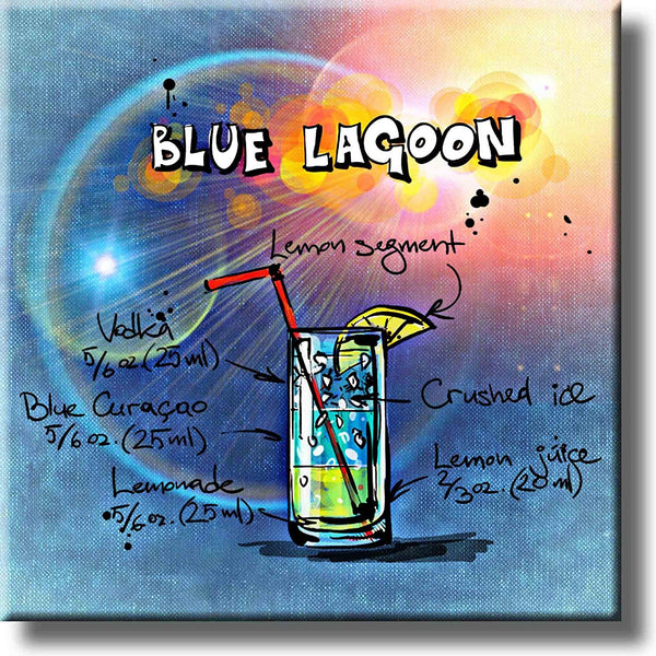 Blue Lagoon Recipe Drink Picture on Stretched Canvas, Wall Art Decor, Ready to Hang!