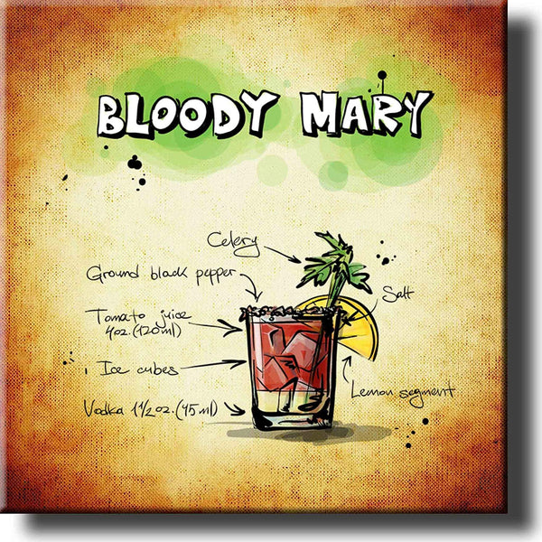 Bloody Mary Drink Recipe Picture on Stretched Canvas, Wall Art Decor, Ready to Hang!