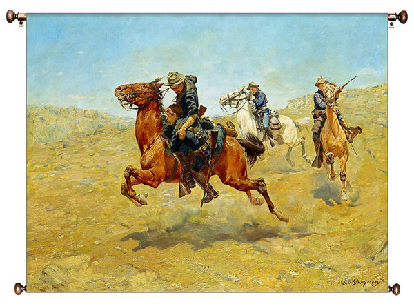 My Bunkie Cowboy by Schreyvogel Picture on Canvas Hung on Copper Rod, Ready to Hang, Wall Art Décor