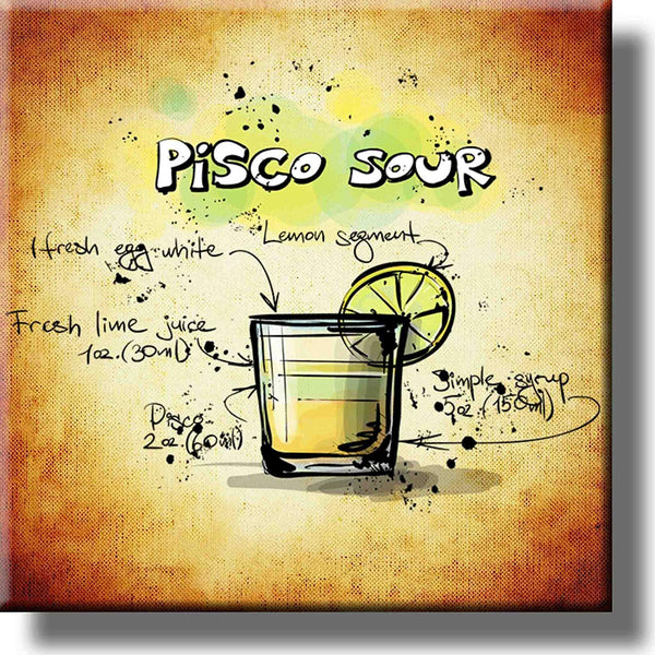 Pisco Sour Cocktail Recipe Drink Picture on Stretched Canvas, Wall Art Decor, Ready to Hang!