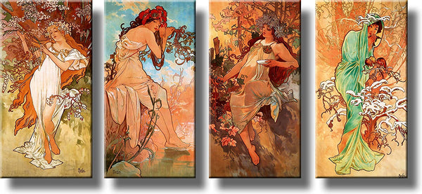 Women Through Four Seasons Vintage 4PC Picture, Wall Art Décor, Ready to Hang!
