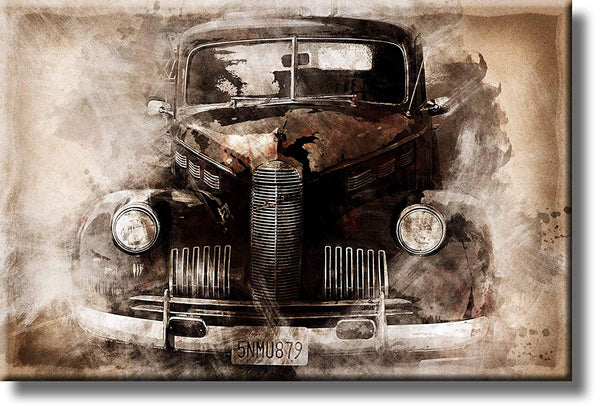 Vintage Oldtimer Classic Car Picture on Stretched Canvas, Wall Art Décor, Ready to Hang