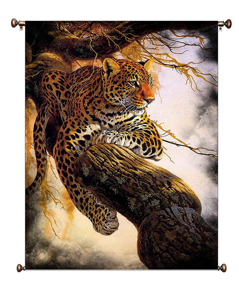 Leopard on a Tree, Wildlife by Al Agnew Picture on Canvas Hung on Copper Rod, Ready to Hang, Wall Art Décor