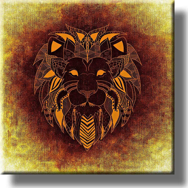 Lion Head Graphic Drawing Picture on Stretched Canvas, Wall Art decor, Ready to Hang!
