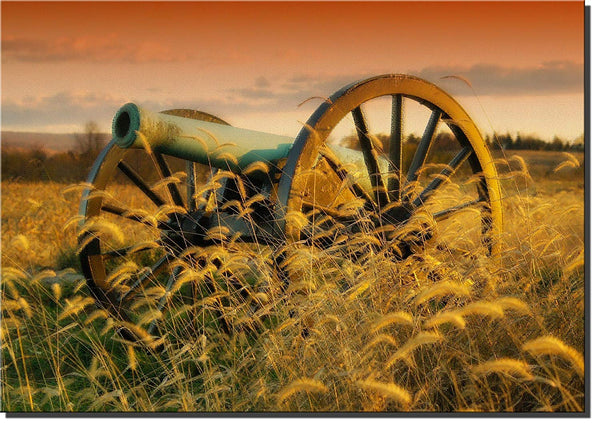 Civil War Cannon Picture on Stretched Canvas, Wall Art Decor Ready to Hang!.